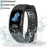 Evershop Wasserdichte IP68 Fitness Tracker mit HD Farbbildschirm, Fitness Armband Aktivitätstracker mit Pulsmesser, Kalorienzähler, Schrittzähler, Schlaf Monitor Anruf SMS SNS Push für Android iOS