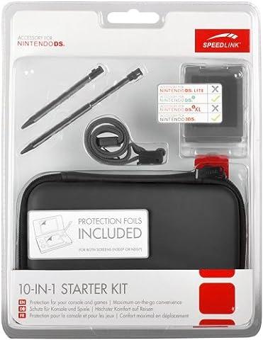 Speedlink - Starter Kit 10-en-1 pour Nintendo N3DS/NDSI (Sacoche, Stylets Tactiles, Film Protecteur, Housses pour Jeux, Chiffon Microfibres) Noir