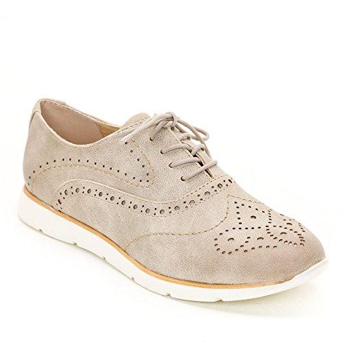 Obsel: by Scarpe&Scarpe - Schnürschuhe mit behandelter Spitze, Flache Schuhe - 37,0, Beige