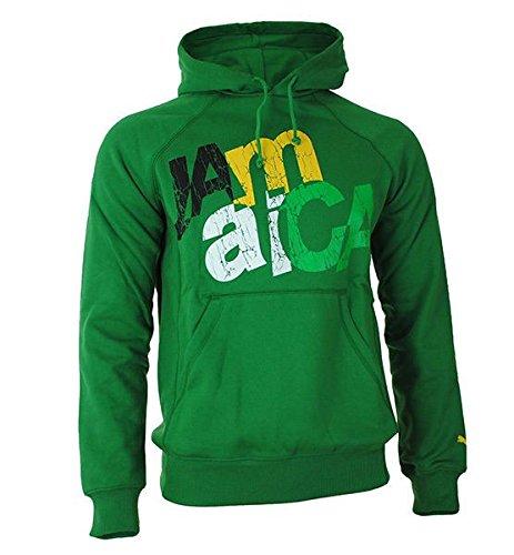 Puma Jamaica Uomo Felpa con cappuccio Hoody maglietta felpata Verde Taglia S, Sizes:S