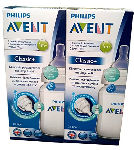 2-x-260ml-Philips-Avent-naturnahe-Flasche-Clasic-SCF-56317-Anti-Kolik-System