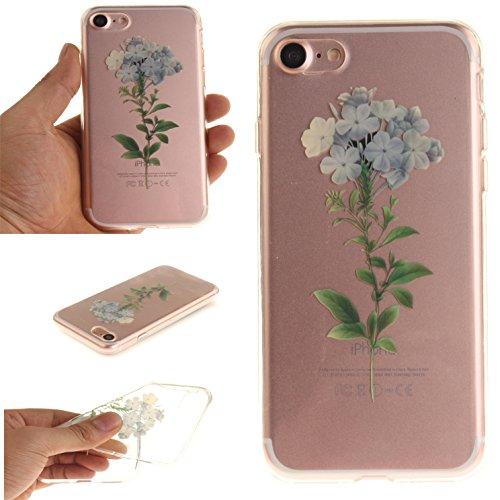 Voguecase® für Apple iPhone 7 Plus 5.5 hülle, Schutzhülle / Case / Cover / Hülle / TPU Gel Skin (Pflaumen 16) + Gratis Universal Eingabestift Kleine Weiße Blumen 05
