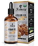 Kanzy Huile d'Argan pure bio pour le cheveux, visage et le corps 100% pure Moroccan pressée à froid Pour Peau hydratant anti-âge antirides peau et des cheveux brillants 100ml