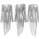 Swallowuk Damen Abendkleider Frauen Glitzer Wrapped Cocktailkleid Festliches Kleid Elegante V-Ausschnitt Langarm Rock Etuikleid Partykleider Hochzeit Kleider (M, Silber)