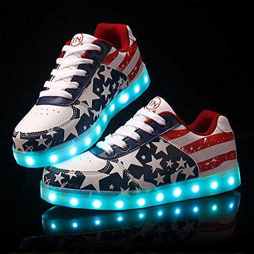 DoGeek LED Schuhe Kinder Damen 7 Farbe USB Aufladen Leuchtend Sportschuhe Led Kinder Farbwechsel Sneaker Turnschuhe für Herren Damen (Wählen Sie 1 größere Größe) Rot