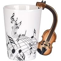VENKON - Tazza con Manico a Disegno di Violino in Scatola Regalo - 200 ml - Ceramica