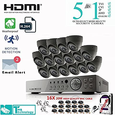 CCTV CAMERA SYSTEM 2.4MP 16CH Security DVR with 5-in-1 DVR Kit and (16) Dome GERY Camera HD IP66 weatherproof Indoor&Outdoor Cameras, 2TB HDD (16ch+16 Grey