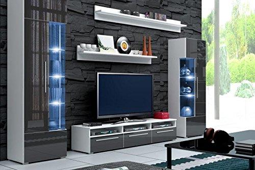Wohnwand AMOR Anbauwand Wohnzimmer Schrankwand Möbelset grau - weiß