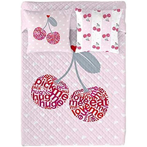 Wild About Words  Colcha Cherries Rosa/Fucsia Cama 180 (270 x 260 cm)