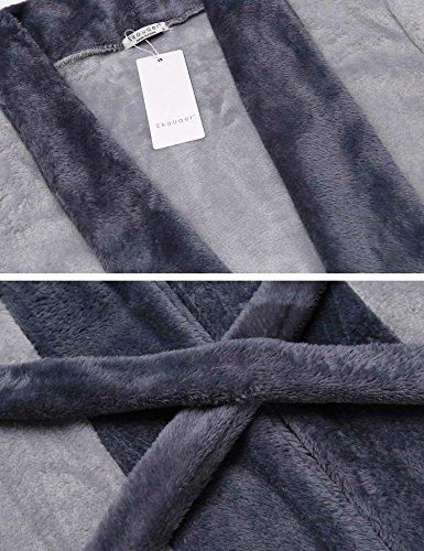 EKOUAER Damen Winter Warmer Bademantel Morgenmantel Mikrofaser Coral Fleece Saunamantel mit Gürtel und 2 Taschen Grau