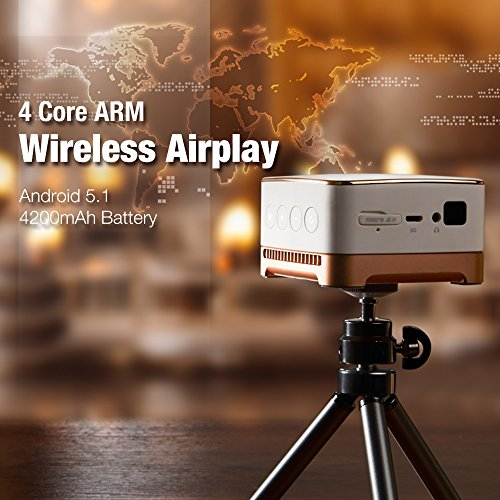1080P Mini Projector Wlan  LED Portable Home Cinema  WiFi Video Projectors with 854 480 Resolution   Support 1080P Input  Wireless DLP Projector 3 5 Maximum Working Hours  Android 5 1 System  USB  TF Card  Ideal for Home Theater Cinema  Entertainment  Games  Parties - Topgio