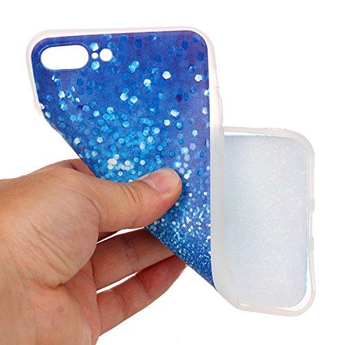 iPhone 7 Coque,iPhone 7 Housse en Transparent,iPhone 7 Coque en Silicone,ETSUEiPhone 7 TPU Coque Crystal Cristal Clear Case Transparent avec Belle Funny Fleur Papillon Citron Pastèque Relief Motif Hou Glitter Bleu