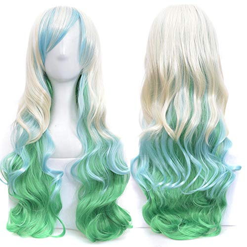 Qlldwxu Wig 70cm Long Ladies Hair Color high Temperature Fiber Wig pink Blue Synthetic Hair Cosplay Wig @ JBS-15_28 inches