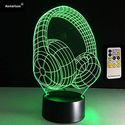 Meilleur cadeau de Noël 3D DJ forme de casque Slide Studio Moniteur de musique casque coloré Hifi musique casque LED Light
