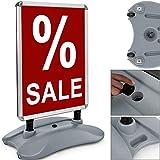 Deuba® Kundenstopper A1 ✔ doppelseitig ✔ Alu Klemmrahmen ✔ Handgriff - Werbetafel Werbeaufsteller Plakatständer Gehwegaufsteller Tafel