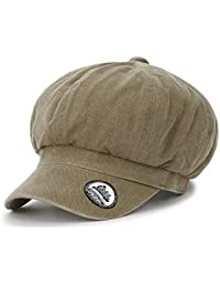 ililily Washed Cotton Newsboy Cabbie Cap Solid Color Duck Bill Flat Hunting  Hat Light Brown 08f5090ef22a