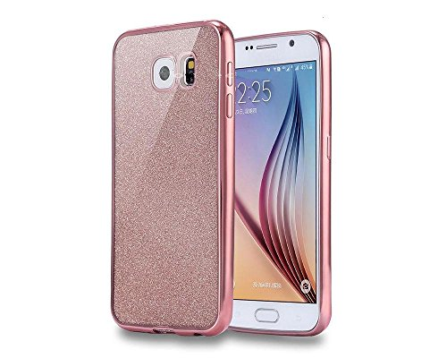 Coque arrière de protection NWNK13® souple en gel/TPU ultra mince flexible avec paillettes pour collection de téléphones Samsung Galaxy (Galaxy S7 Edge, doré rose pailleté)