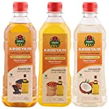 #6: Arogyam cold pressed/wood pressed sesame,groundnut & coconut oil combo pack each 500ML