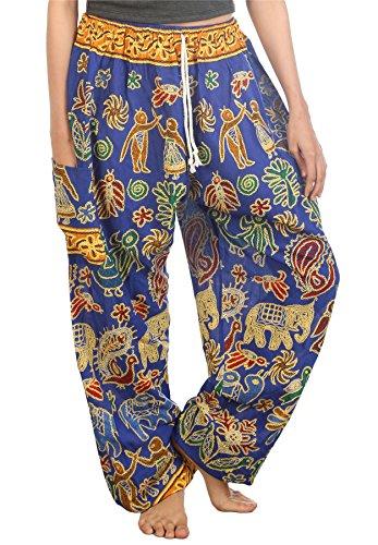 Lofbaz Mujer Elefantes 2 Cordón Harén Boho Pantalones Azul S
