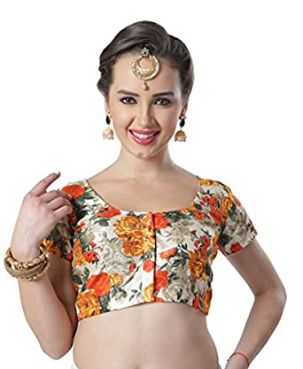 STUDIO SHRINGAAR POLY RAW SILK FLORAL PRINTED READYMADE SAREE BLOUSE WITH SHORT SLEEVES (38)