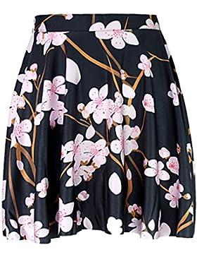 Honghu Verano Elegante Vintade Swing Impresión Mini Plisada Falda para Mujer