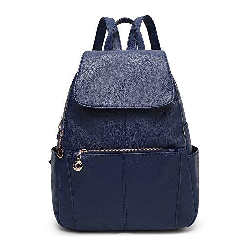 Meoaeo Neue Damen Rucksack Koreanischer Mode Geprägte Rucksack Tasche blue