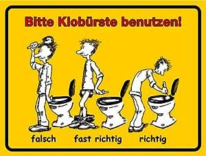 Schild Alu Bitte Klobürste benutzen 150x200mm: Amazon.de