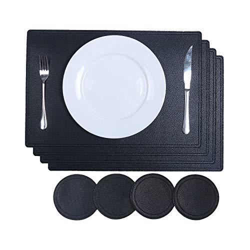 SHACOS PU Leder Platzsets und Untersetzer Set von 4 Schwarz Aus recyceltem Leder 4 Stück Platzsets...