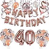 Howaf 40 Ans Anniversaire Décorations Femme, Anniversaire Ballon Or Rose Kit Guirlande Happy Birthday Ballon, Ballons Confettis Rose Or, Latex Ballon Rose Or, Ballons Chiffre étoile et Coeur