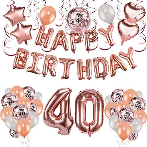 Howaf oro rosa 40 anni compleanno decorazioni per donna, 59 pezzi palloncini oro rosa festone di palloncini compleanno palloncini in lattice coriandoli palloncini e pendenti a spirale