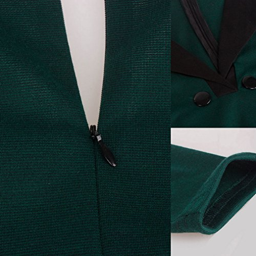 Bigood Sexy Femme Robe Col V Foncé Hanche Jupe à Manche 3/4 Caudale Poisson Vert