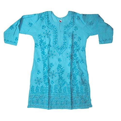 Grace Collections Women's Ethnic Cotton Lucknowi Chikankari Kurti (Blue 42, Aari and...