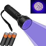 DOBO® 51 LED UV Torcia in alluminio LED UV rilevatore di lampada ultravioletti per scovare tracce di macchie o urina animali gatti - 3 Batterie AAA incluse