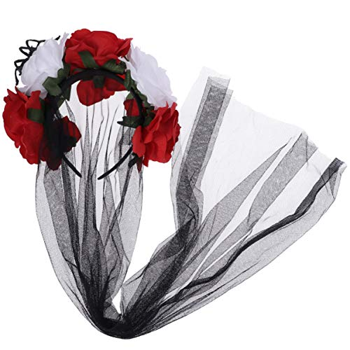 Kostüm Tag Toten Der Baby - Amosfun Halloween Stirnband Schleier Gothic Schleier Blume Krone Schleier Kopfschmuck für Tag der Toten Halloween-Kostüm (rot und schwarz)