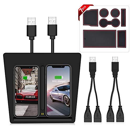 AMZBY Wireless Mount für Tesla Model 3, Zwei USB-Anschlüsse Wireless Charging Pad für Tesla Model 3 Zubehör, Zwei Ladegeräte für iPhone XS MAX/XR/X / 8/8 Plus Samsung Galaxy Alle Qi-fähigen Telefone