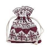 10 Stück hochwertige Baumwoll Säckchen Beutel Beutelchen Schmuckbeutel Weihnachtsmotiv Weihnachten für Schmuck Geschenk (XSmall rot/grau 8x10cm)