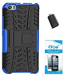 TBZ Hard Grip Rubberized Kickstand Back Cover Case for Xiaomi Mi5 with OTG Adaptor and Tempered Screen Guard -Blue