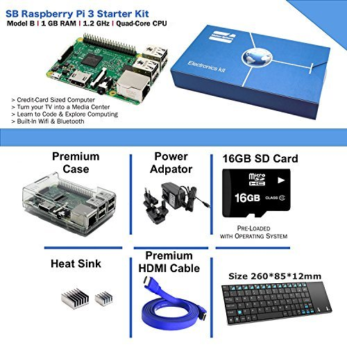 Maker-Sphere Raspberry Pi 3 Model B Quad Core Complete Starter Kit with Mini Wireless Keyboard (Raspberry Pi B +16GB SD Card + Clear Case + Power Supply + HDMI Cable+ 3 pcs Heat Sink)(Clear)