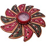 Riddhi Siddhi Crafts & Creations Marble Candle Stand/muli Purpose Plate Set (15 Cm X 15 Cm X 2 Cm, Multicolors) Marble Mehrab Design Red Meenakari Candle Stand/muli Purpose Plate | Marble Candle Stand/muli Purpose Plate | Rajasthani Unique Traditional
