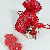 20 sacchetti bomboniere laurea staffa di cavallo argentata con gufo confetti rossi