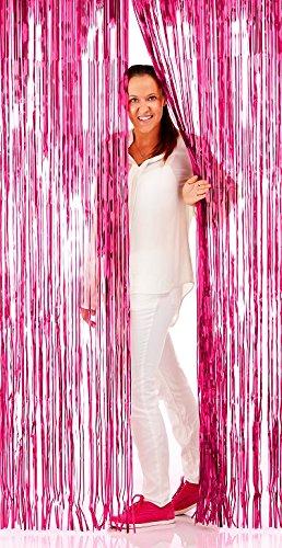 Folat Neu Vorhang Lametta Pink, 2 x 1 m