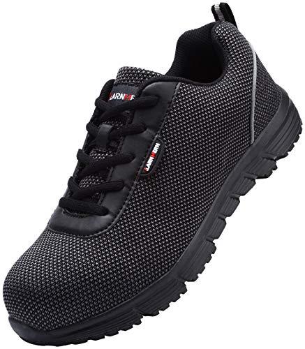 LARNMERN Sicherheitsschuhe Stahlkappe Herren, SRC Anti Slip Arbeitsschuhe Anti Statische Pannensicher Industrie Schuhe, LM-130 (All Schwarz 46 EU)