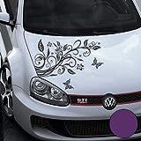 A456 Blumenranke Autoaufkleber + 3 Schmetterlinge 77cm x 50cm violett (Farb-/Größenwahl)