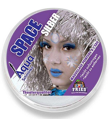 Aqua-Schminke in Theaterqualität, mehrere Farben, Fasching + Halloween (Space-silber) (Die Schlümpfe-halloween-kostüme)