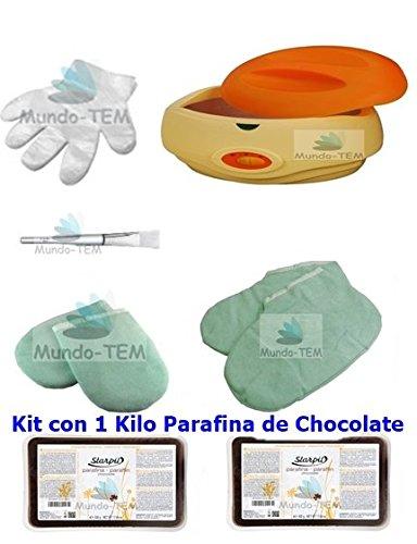 Mundo-TEM ® appareil fundidor de paraffine + Kit complet, 1 kilo paraffine de chocolat, cadeaux : Manuel bref pour le traitement de paraffine.