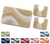 Badgarnitur Evia, 3 Teile, Shaggy, Moderne, weich, rutschfeste Rückseite beige