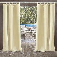 UniEco Outdoor Curtain Garden Patio Balloon Curtains Blackout Curtains Waterproof Mildew Resistant for Pavilion Beach House, 1 Piece, 132x215cm, Beige