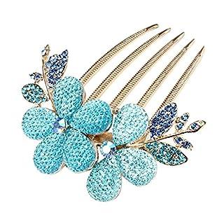 ANKKO Elegante Frauen Charmant Strass Blume Muster Haarspange Clip Haar Kamm (Blau)