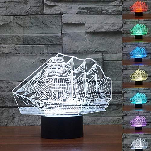 Segelboot Modell Handwerk Ornamente Nachtlicht Farbwechsel Lampe Mittelmeer Segelschiff Dekor