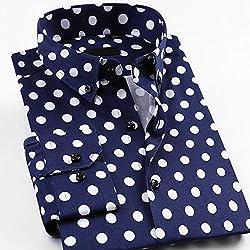 MKDLJY Camisas Camisa de Vestir de Manga Larga con diseño de Lunares y Ajuste estándar, para Hombre Camisas de Flores de Fiesta con Cuello Abotonado cómodas